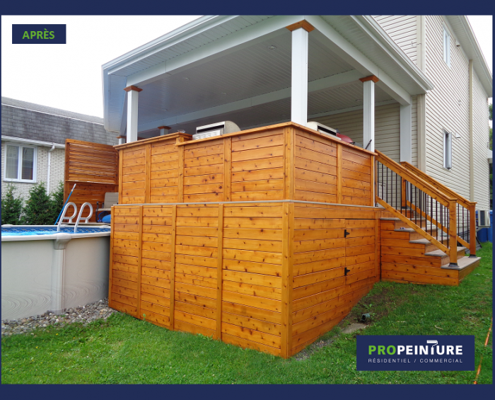 Teinture exterieure semi transparante peintre professionnel patio bois